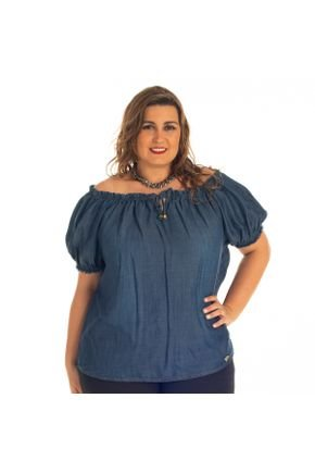 ciganinha jeans plus size